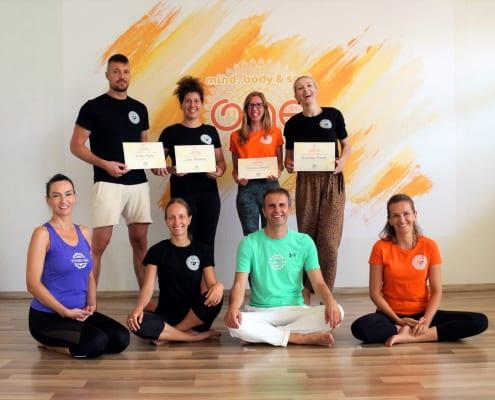 Studio One School of Yoga Teachers and students